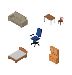 Isometric furnishing set of cupboard chair vector