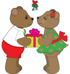 kissing bears mistletoe vector image