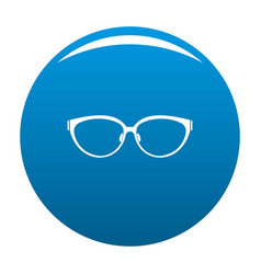 Lens eyeglasses icon blue vector