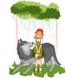 Little red riding hood with wolf vector