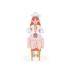Lovely girl baking cake hobeducation vector