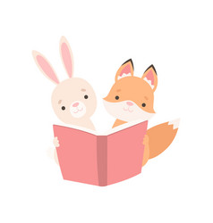 lovely white little bunny and fox cub reading book vector image