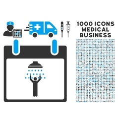 Man Shower Calendar Day Icon With 1000 Medical vector