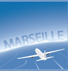 Marseille skyline flight destination vector