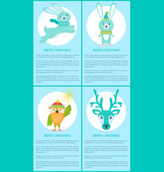 merry christmas set of posters with smiling animal vector image
