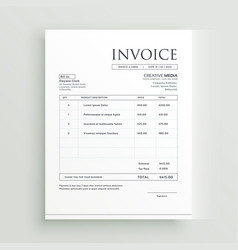 Minimal clean invoice form template design vector