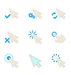 mouse cursor icons set cartoon style vector image