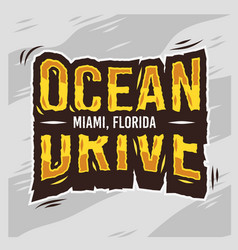 Ocean drive miami beach florida summer typographic vector
