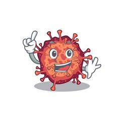 One finger contagious corona virus in mascot vector