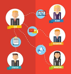 Online Business flat management concept vector