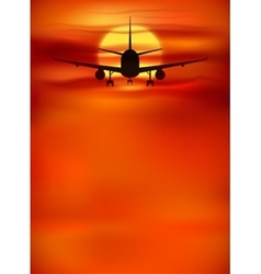Orange sunset background with black plane vector image