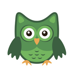 owl stylized icon green colors vector image