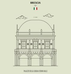 Palazzo della loggia or town hall in brescia vector