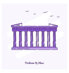 Parthenon athens landmark purple dotted line vector
