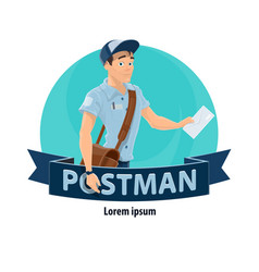postman with mailbag delivering letter icon vector image
