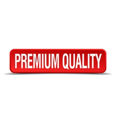 Premium quality red 3d square button isolated on vector