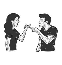 Quarrel in couple sketch vector