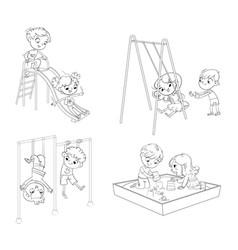 recreation park playground kids zone vector image