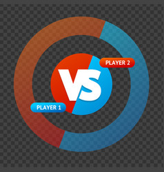 red and blue versus sign on a transparent vector image