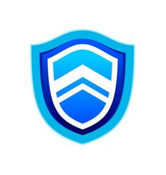 rising up blue modern shield symbol logo design vector image