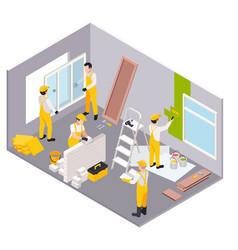 room repair isometric set vector image