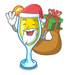 Santa with gift mimosa mascot cartoon style vector