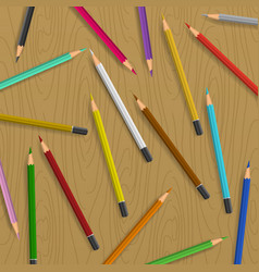 Scattered pencils on table background vector