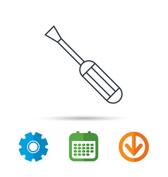 Screwdriver icon repair or fix tool sign vector