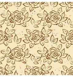 Seamless Flowers Rose Contours vector image