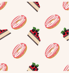 seamless pattern with donuts with glaze and vector image