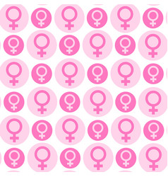 seamless pattern with pink female symbols on white vector image