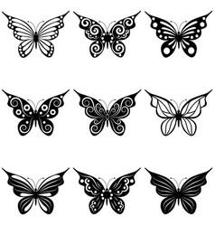 Set butterflies vector