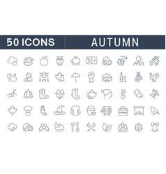 set line icons autumn vector image