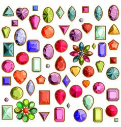 set of realistic precious stones jewels vector image