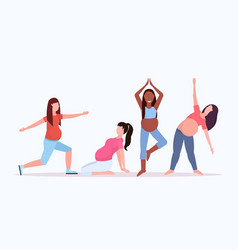 set pregnant woman doing stretching physical vector image