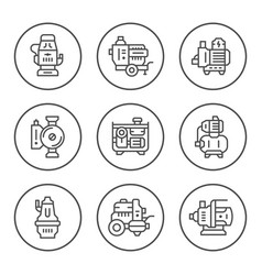 set round line icons of water pump vector image