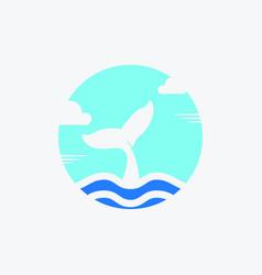 Sky cloud sea tail whale giant for ocean logo vector
