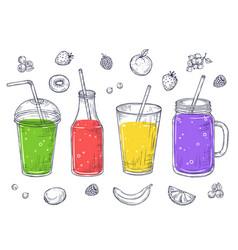 Smoothies fruit healthy juice sketch drinks vector