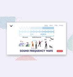 Sound frequency waves landing page template tiny vector