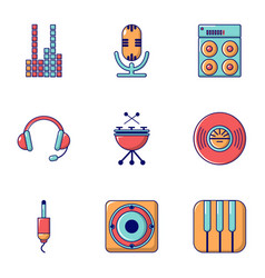 Sound producing icons set flat style vector
