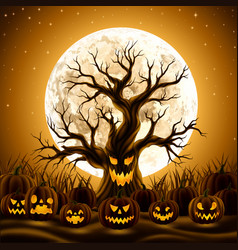 Spooky evil tree with jack-o-lanterns vector