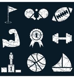 Sport icon set white grunge vector image