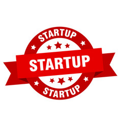 startup ribbon startup round red sign startup vector image