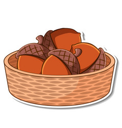 Sticker basket with many acorns vector