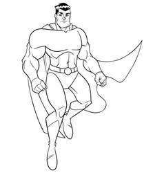 superhero flying 5 line art vector image