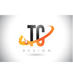 Tc t c letter logo with fire flames design and vector