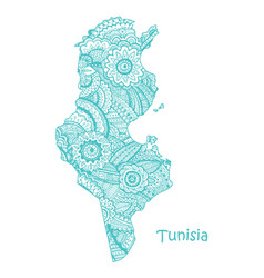 textured map tunisia hand drawn ethno vector image