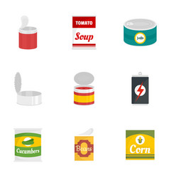 Tin can icon set flat style vector