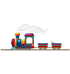 Train riding on the track vector