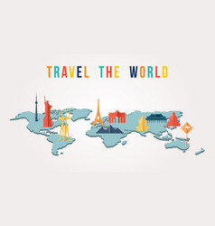 Travel world paper cut monument map design vector